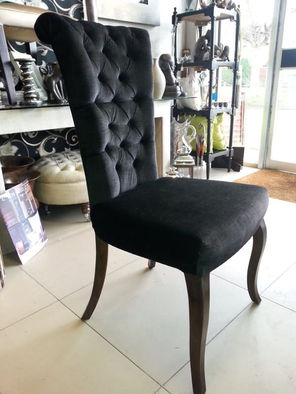 Dining chair - scroll back and buttoned